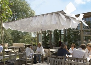 Contemporary garden parasol canopy