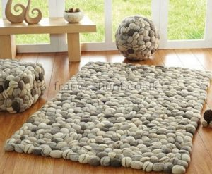 Luxury fresh design felted wool pebble rug