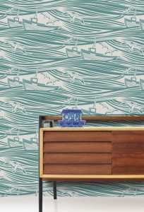 Contemporary modern nautical wallpaper