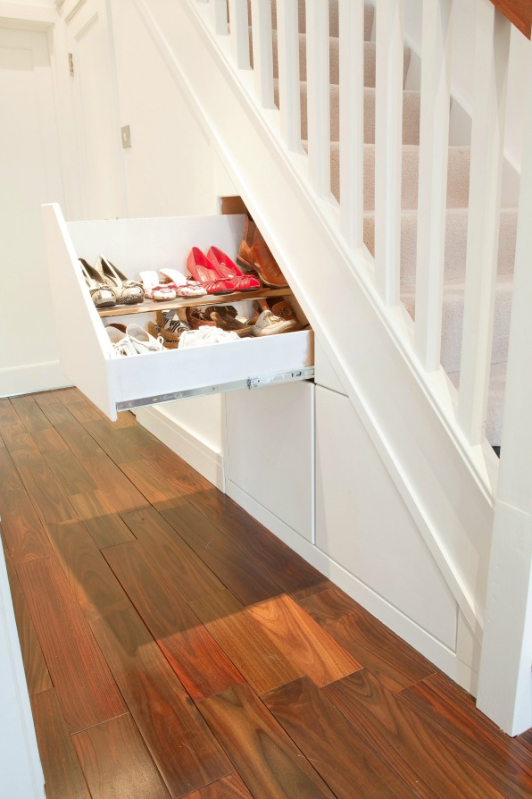 Clever closet under stairs storage solution fresh design for Diy staircase drawers