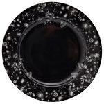 Miss Blackbirdy black flower print plate