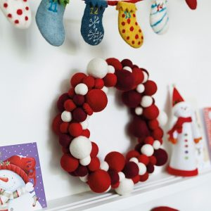 Alternative contemporary Christmas door wreath garland