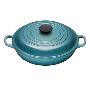 Teal cast iron cookware