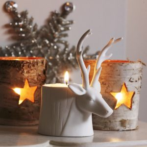 Woodland trend white deer stage candle holder