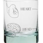 Glass heart and head tumblers by Space 1a Design