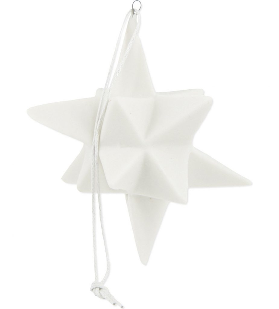 Contemporary white geometric star tree decoration by Bloomingville