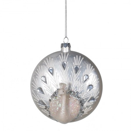 Decorative flat peacock design Christmas tree bauble