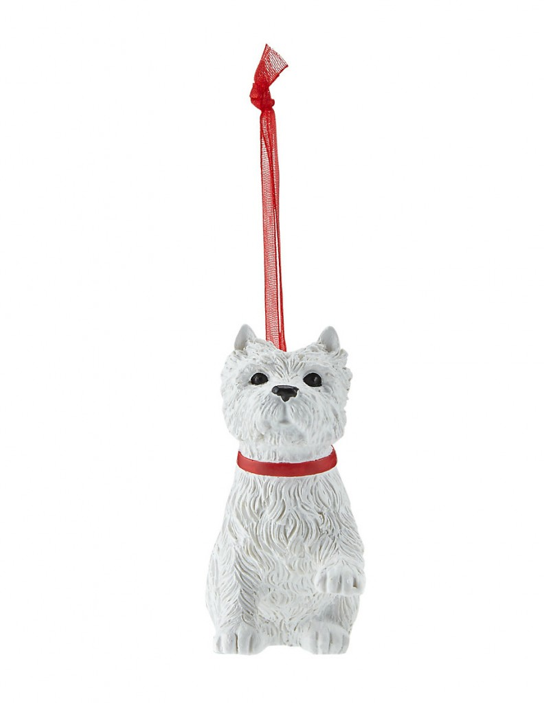 Cute white resin dog Christmas tree decoration.