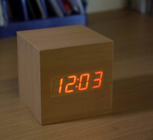 Contemporary modern wooden bedside alarm clock