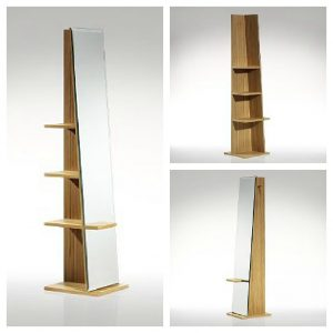 Functional full length mirror with built in storage