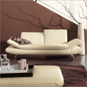 Contemporary adjustable leather sofa