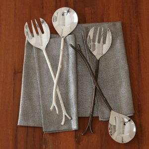 Contemporary silver salad server set
