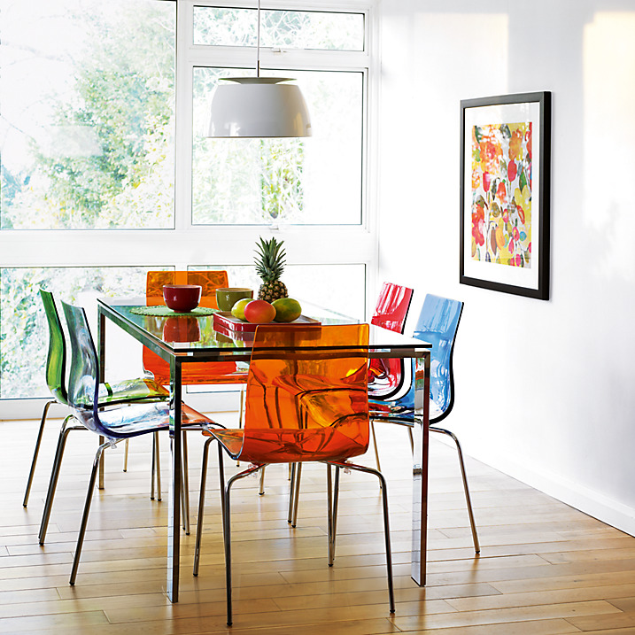 Colourful Contemporary Dining Frost Dining Table And Gel Chairs