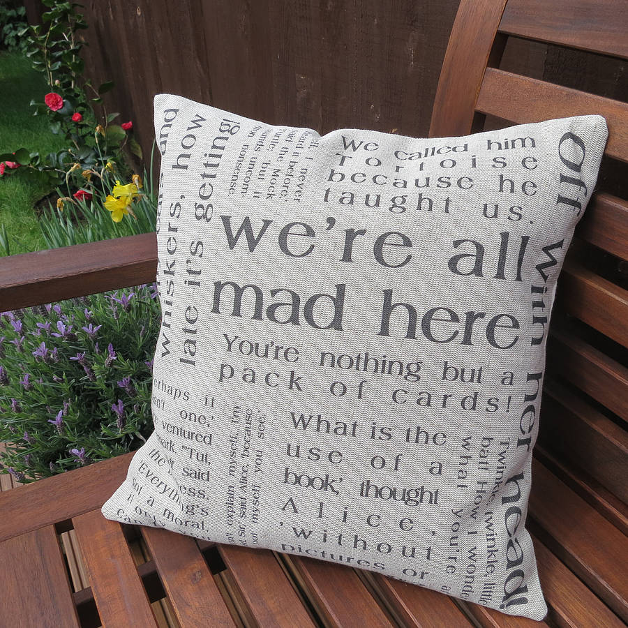 Handmade quote design cushions
