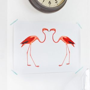 Contemporary flamingo wall art