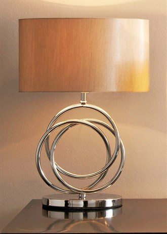 Contemporary wood and metal table lamp