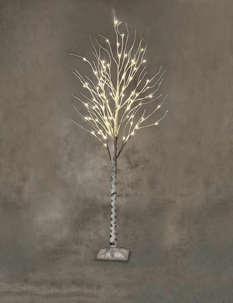 Beautiful white flock outdoor Christmas tree that comes pre-lit