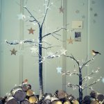 Frosted effect light up twig Christmas trees