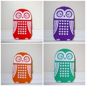 Funky screen printed owl designs