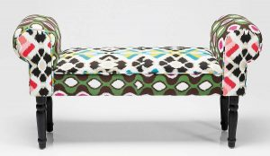 Contemporary bold Aztec print bench