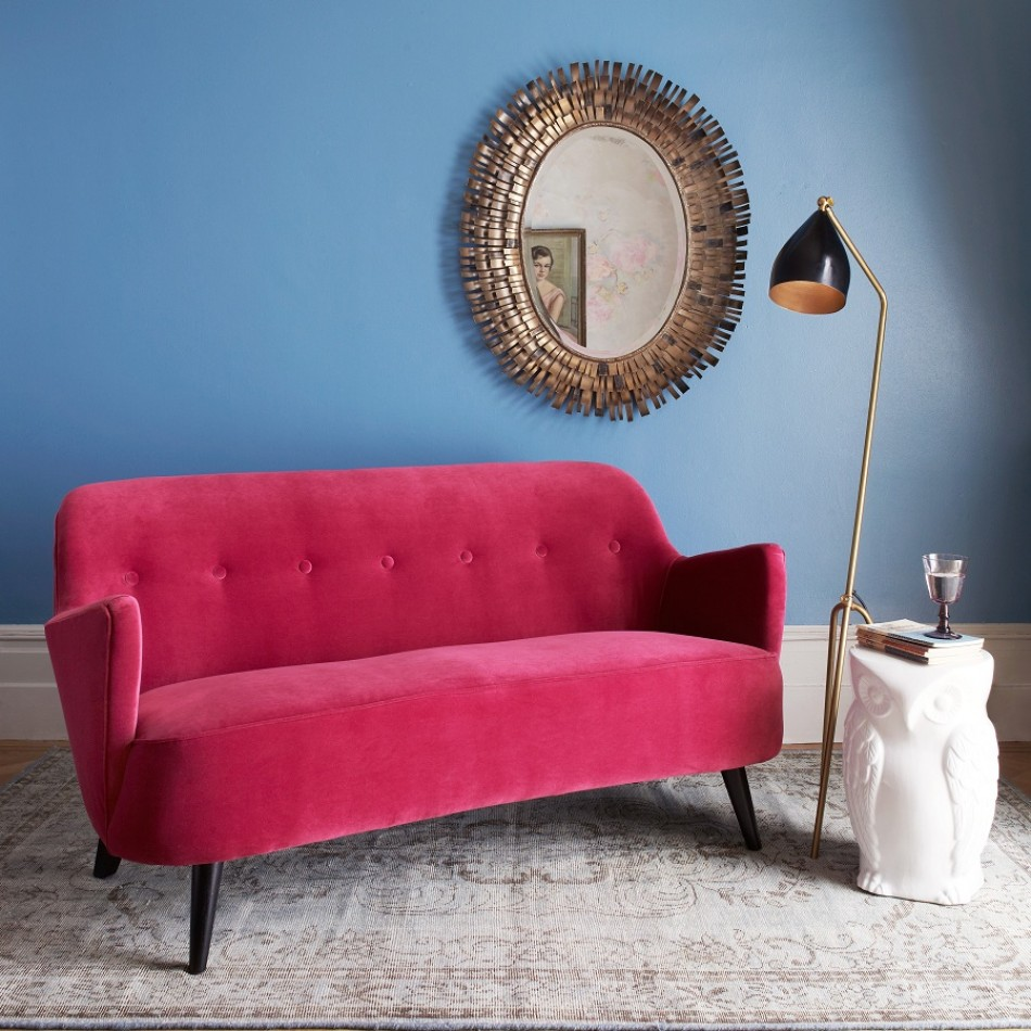 Luxury contemporary velvet sofa