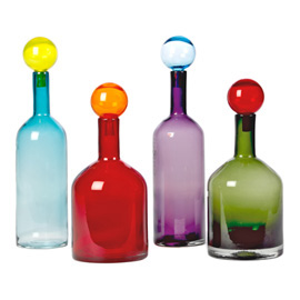 Handmade mouth blown designer glass bottles