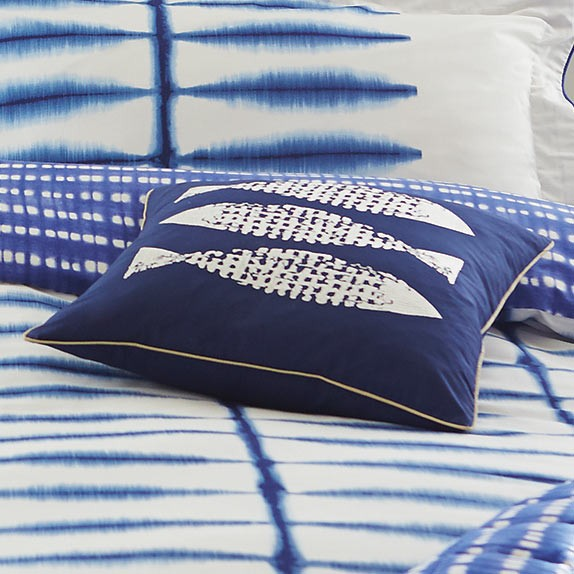 Scion Shibori blue and white fish cushion