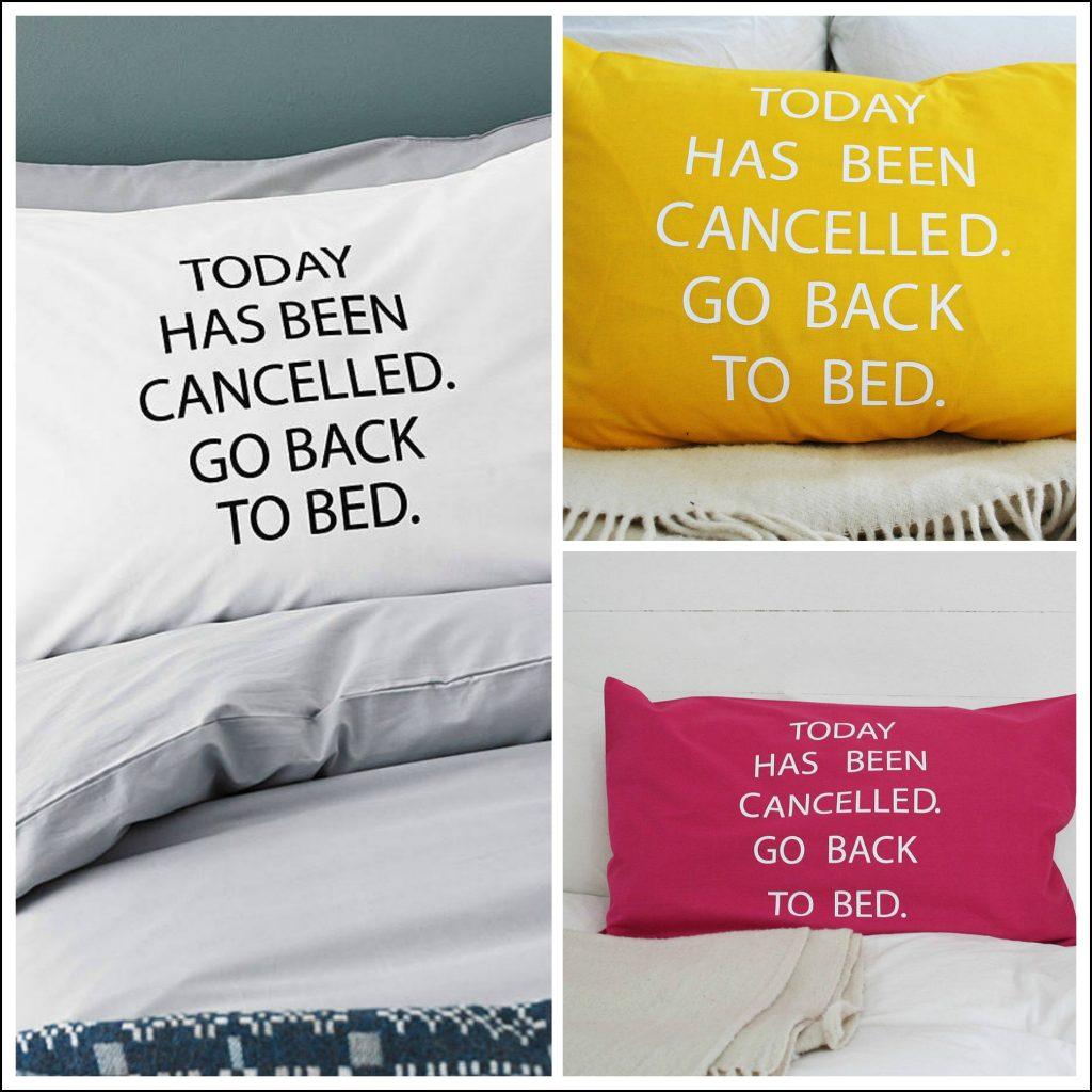 Typographic pillowcase message desig