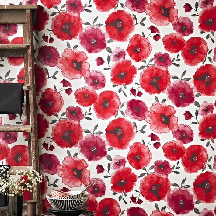 Decorate with red poppies wallpaper