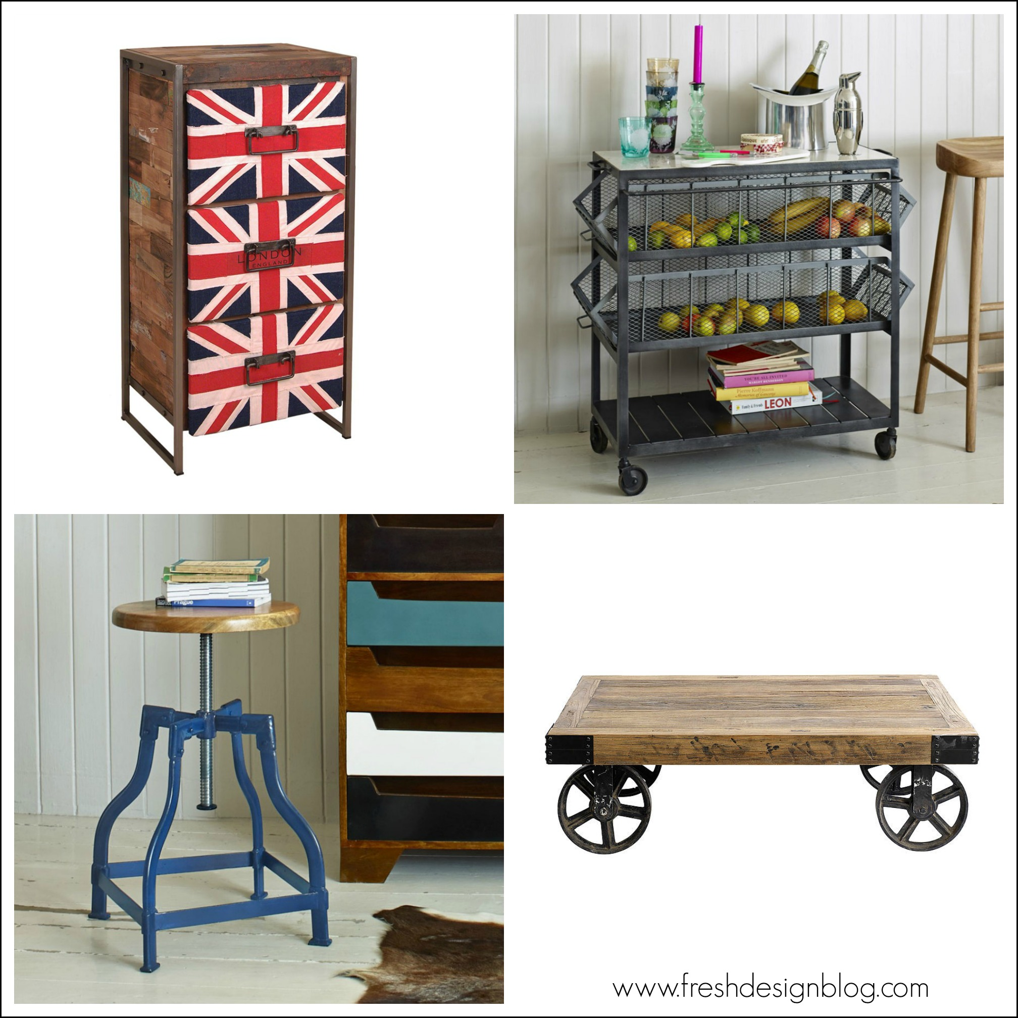 Industrial style furniture Four distinctive ideas for