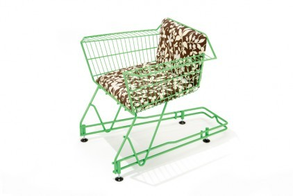 Contemporary upcycled shopping trolley chair