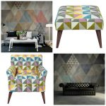 Geometric home triangle trend: Wallpaper and furniture to love