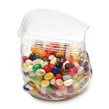 Novelty contemporary zip glass bag bowl