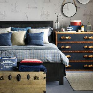 Travel inspired bedroom decor
