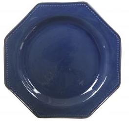 Plain blue octagonal plate