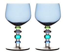 Spectra blue glass wine glasses