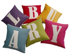Bright initial cushions from Karen Hilton Designs
