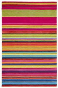Bright stripy Xian floor rug.