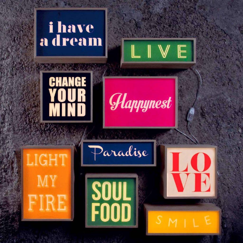 Typography light box designs