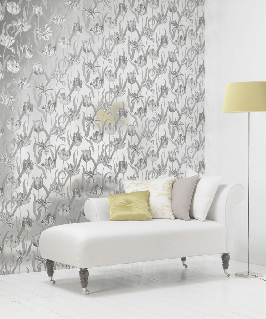 Metallic silver tulip botanical wallpaper