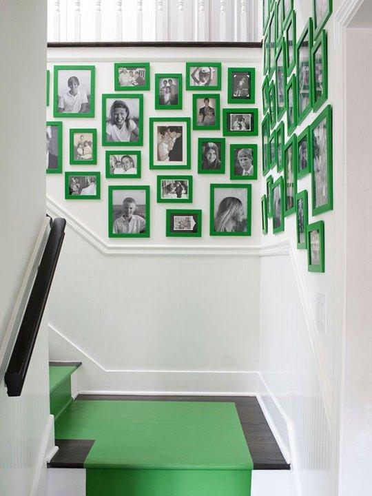 Green gallery wall art design
