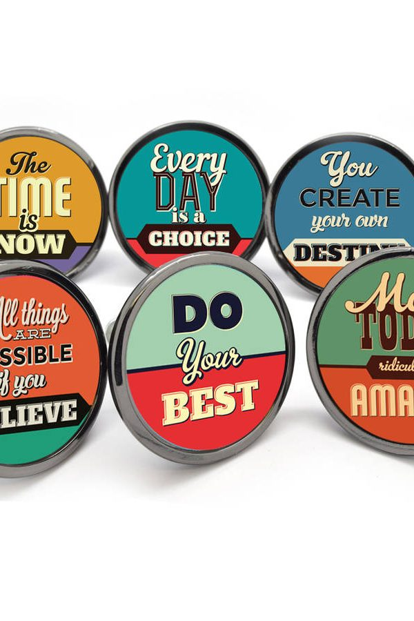 Make your furniture inspirational with these quote knobs