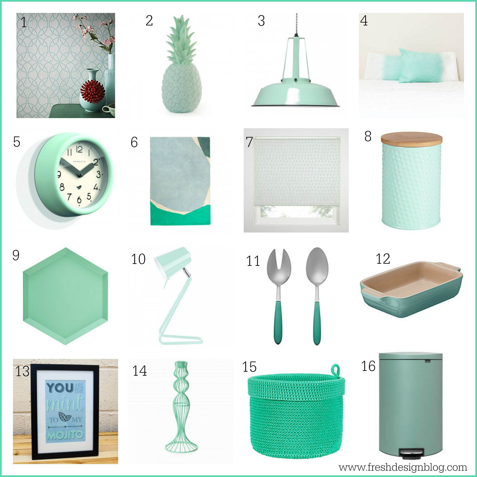 Minty fresh colour 16 ways to accessorize your home with for Fresh design blog