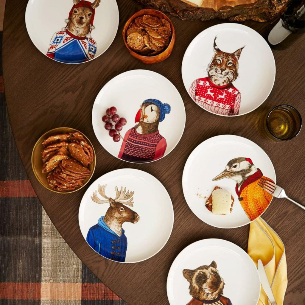 Designer animal ceramic plates