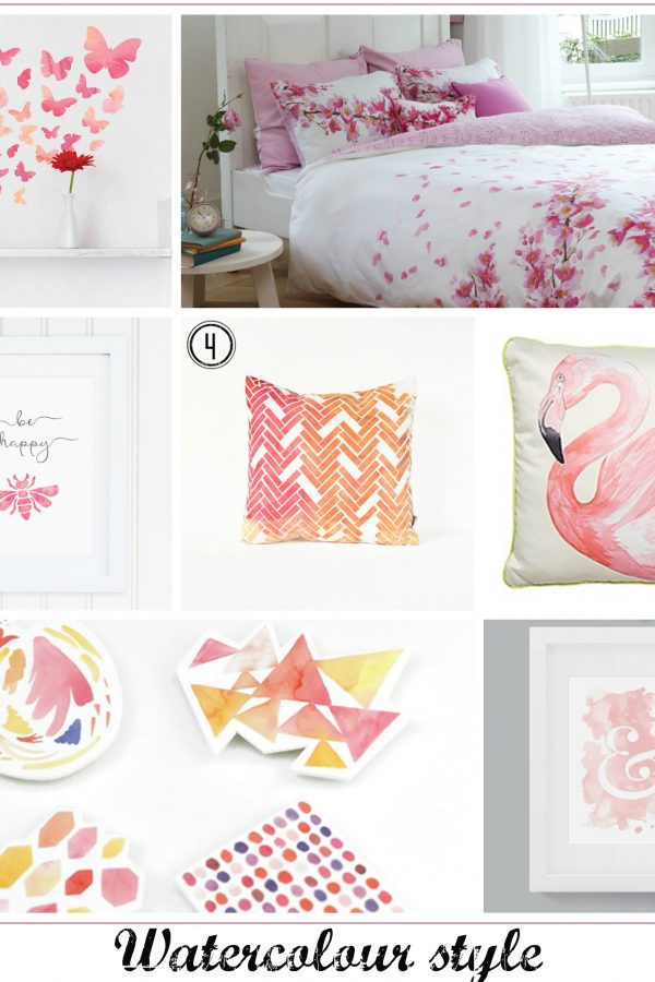 Perfect pink watercolour style home interior ideas