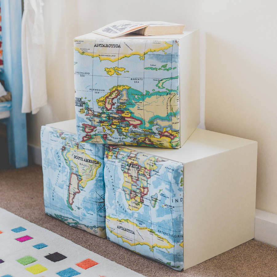 Map Children Kids Storage Cube