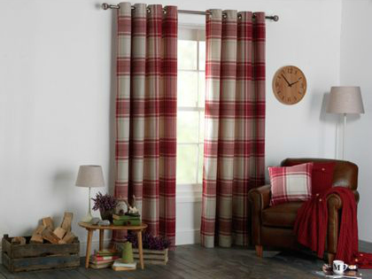 Red and white warm winter curtains