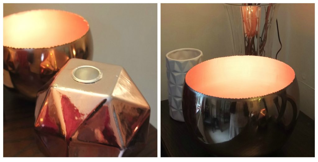 Round and geometric copper candle holders styled by Fresh Design Blog