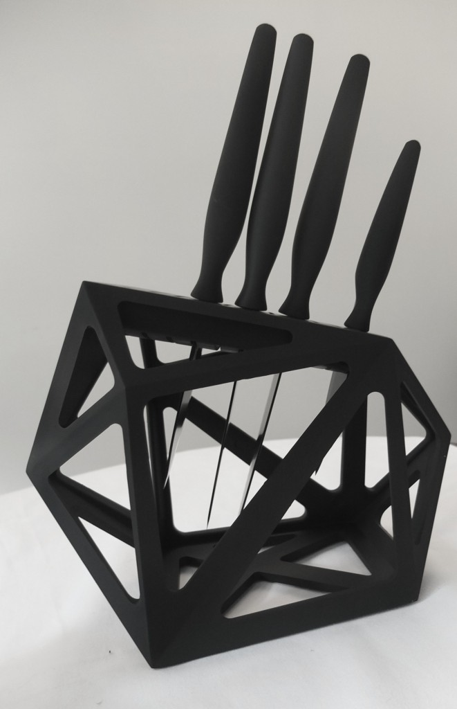 Unusual black diamond geometric knife block