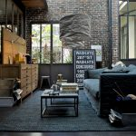 Solid oak furniture for a modern industrial living room